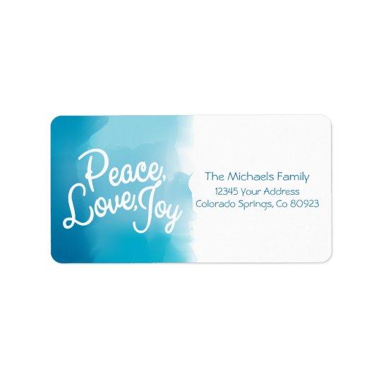 Paz, amor, alegria, feriado moderno etiqueta de endereço