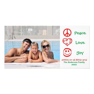Paz, amor, alegria vermelha/verde - cartões de