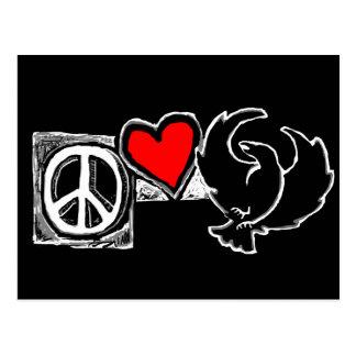 Paz, amor, aranha cartão postal