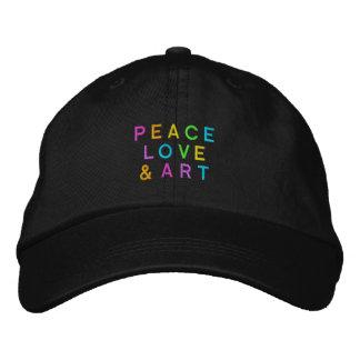 Paz, amor & arte boné bordado