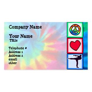 Paz, amor, artes marciais modelos cartões de visitas