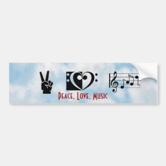 Paz, amor, autocolante no vidro traseiro da música adesivo