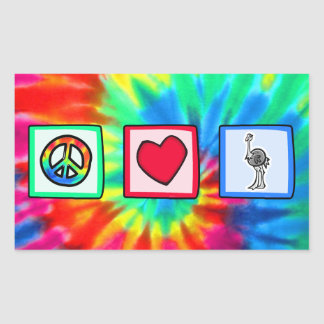 Paz, amor, avestruzes adesivo retangular