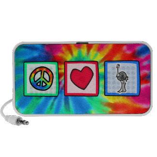Paz amor avestruzes caixinhas de som para iPod