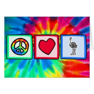 Paz, amor, avestruzes cartao