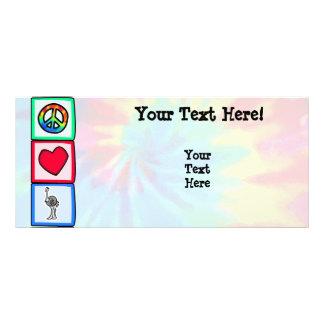 Paz amor avestruzes planfeto informativo colorido