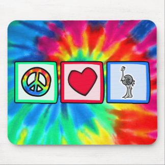 Paz, amor, avestruzes mouse pad