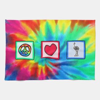Paz, amor, avestruzes toalha de mão