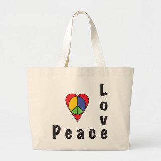Paz & amor! bolsa de lona