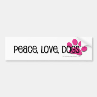 paz, amor, cães adesivo para carro