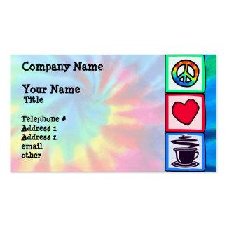 Paz, amor, café cartão de visita