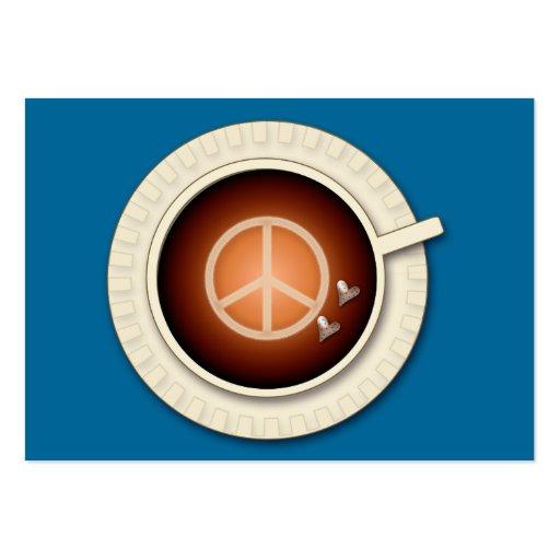 paz, amor & café cartões de visita