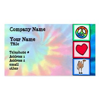 Paz, amor, camelos cartão de visita