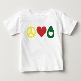 Paz, amor, camisa da criança do abacate