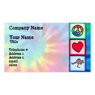 Paz, amor, cangurus cartão de visita