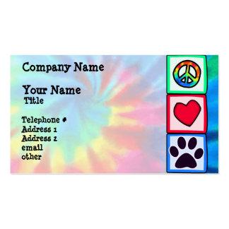 Paz, amor, cão; Pawprint Cartão De Visita
