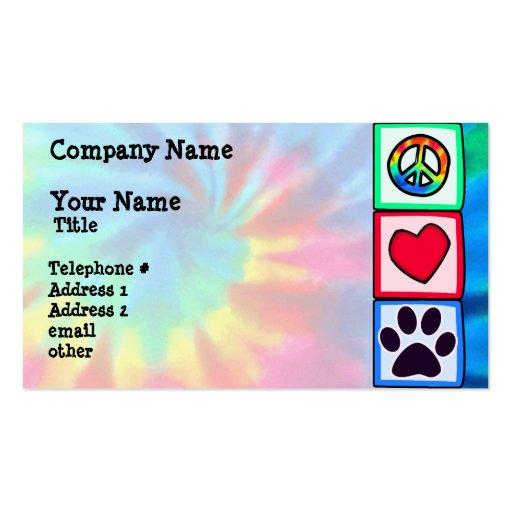 Paz, amor, cão; Pawprint Modelo De Cartões De Visita