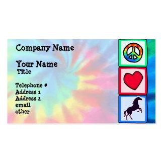 Paz, amor, cavalos modelos cartões de visitas