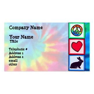 Paz, amor, coelhos cartão de visita