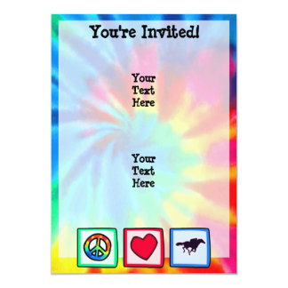 Paz, amor, corrida de cavalos convite 12.7 x 17.78cm