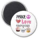 Paz. Amor. Cupcakes. Ímã Imã