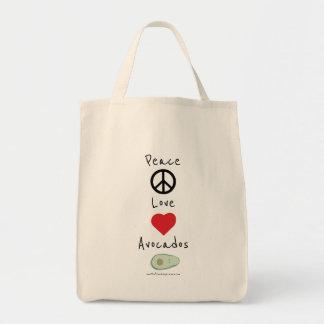 Paz, amor, e bolsa do mantimento dos abacates