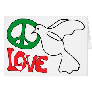 Paz, amor e cartão vazio da pomba