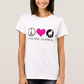 Paz, amor, e t-shirt das senhoras de Pitbulls Camiseta