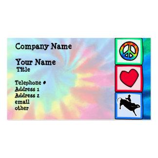 Paz, amor, equitação de Bull Cartão De Visita