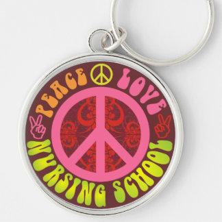 Paz, amor, escola de cuidados chaveiro redondo na cor prata