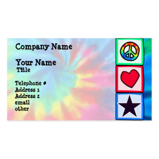Paz amor estrelas modelo de cartões de visita