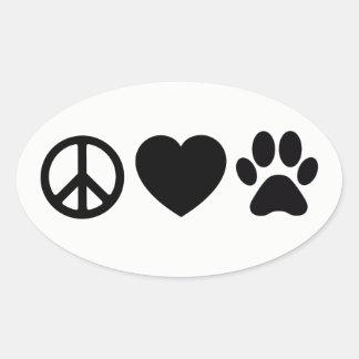 """Paz, amor & etiquetas dos cães 4,5 x 2,7"""" (folha"""