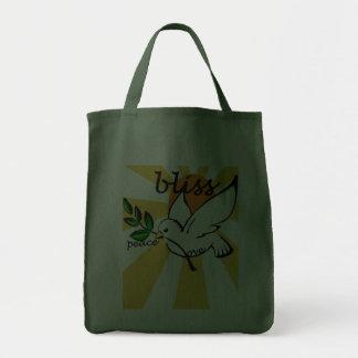 Paz, amor & felicidade bolsas de lona