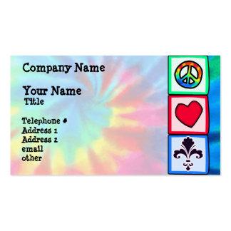 Paz, amor, flor de lis cartão de visita