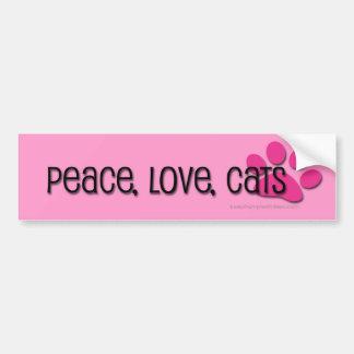 paz, amor, gatos adesivo para carro