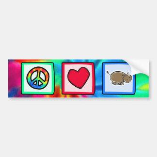 Paz, amor, hipopótamos adesivo para carro