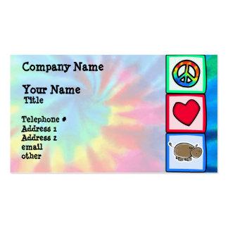 Paz amor hipopótamos cartões de visitas