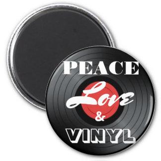 Paz, amor & ímã do registro de vinil ímã redondo 5.08cm