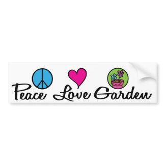 Paz. Amor. Jardim adesivos de carro