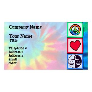 Paz, amor, justiça modelo cartões de visita