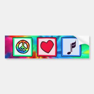 Paz, amor, música adesivo para carro