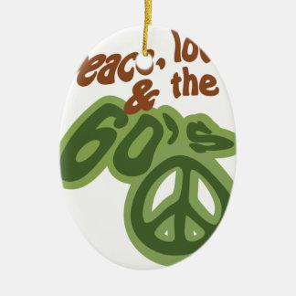 Paz, amor & os anos 60 ornamento de cerâmica oval