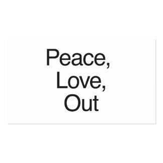 Paz amor para fora modelos cartões de visita