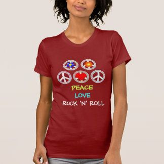 PAZ, AMOR, ROCK AND ROLL CAMISETA