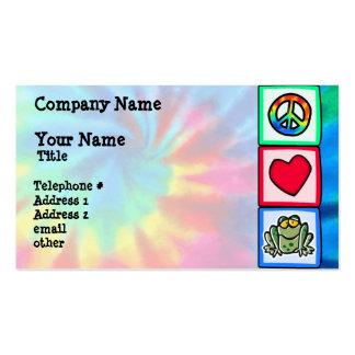 Paz amor sapos cartões de visitas