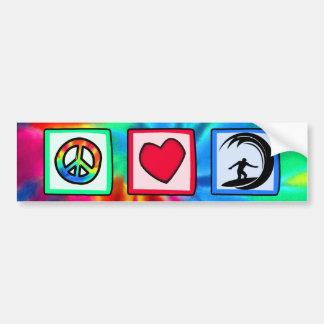 Paz, amor, surfando adesivo para carro