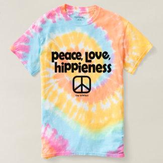Paz, amor, T da tintura do laço de Hippieness Camiseta