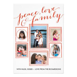 Paz, amor & vermelho da família convite personalizado