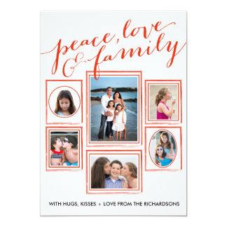 Paz, amor & vermelho da família convite 12.7 x 17.78cm