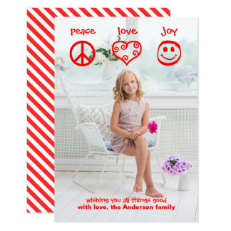 Paz, amor, vertical da alegria - cartão de Natal